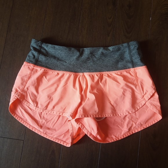Coral pink Lululemon shorts